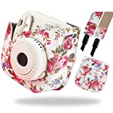 Katia Fujifilm Instax Mini 9 Case, Soft PU Leather Protective Case with Shoulder Strap and Pocket for Fujifilm Instax Mini 8 8+/Mini 9 Instant Camera - Flamingo Pink
