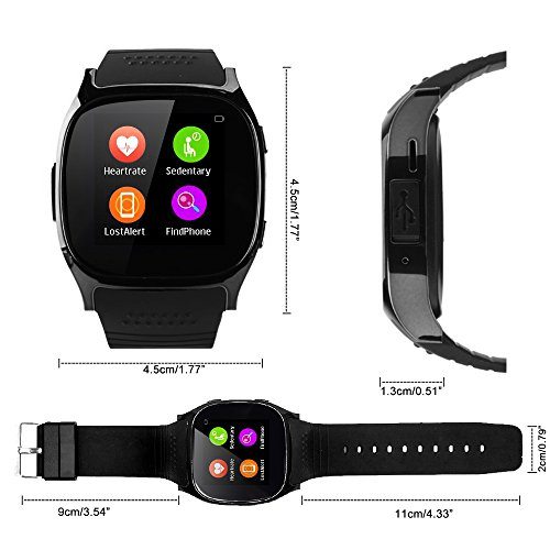 Bluetooth T8 T8 M reloj inteligente con monitor de sueño, para iPhone/Samsung/LG/Sony/HUAWEI/NOKIA, color T8m(with Heart Rate and Blood Press Monitor): ...