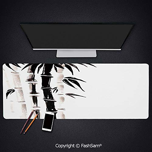 Desk Large Mat Mouse Pads Bamboo Pattern in Traditional Chinese Watercolor Painting Style Asian Art Print Keyboard Pad for Office Desktop(W35.4xL15.7)