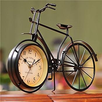NEOTEND Handmade Vintage Bicycle Clock Bike Mute Black Table Clock Black Color