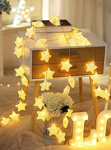 CITRA 16 Led Frosted Crackle Star Copper String Fairy Light for Home,Office, Diwali, Eid & Christmas Decoration – Warm…
