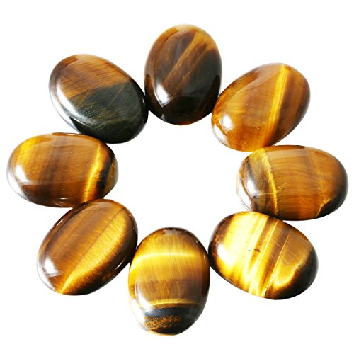 SUNYIK Tiger's Eye Oval Cabochons CAB Flatback for Jewelry Making,13x18mm,Set of 10
