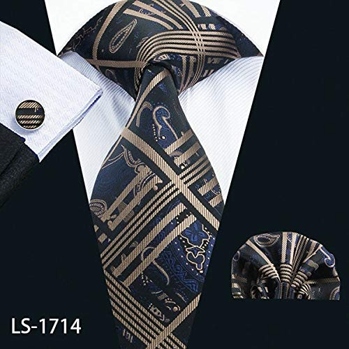 - Graven LS-1199 Mens Ties Fshion Plaid 100% Silk Barry.Wang Jacquard Woven Necktie Hanky Cufflink Set Ties for Men Formal Wedding Party - (Color: LS-1714)