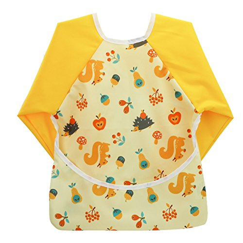 Hi Sprout Unisex Infant Toddler Baby Super Waterproof Sleeved Bib, Reusable Bib with Sleeves& Pocket, 12-24 Months (lovely squirrel)