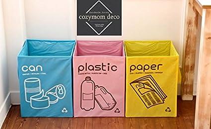 [Cozymom Deco] bolsas de reciclaje separadas, no tejidas, compartimento abierto, Set de 3