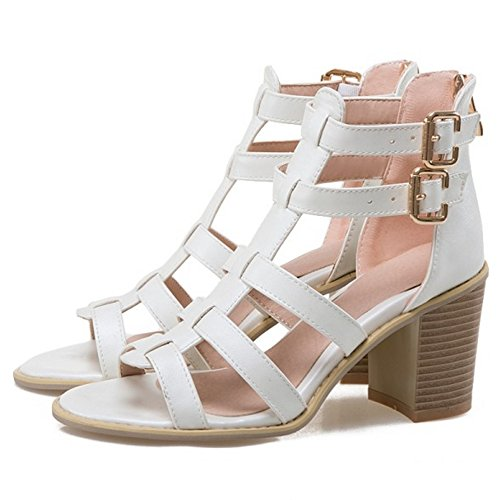 COOLCEPT Damen Mode T-Spangen Sandalen Open Toe Blockabsatz Schuhe Mit Zipper White