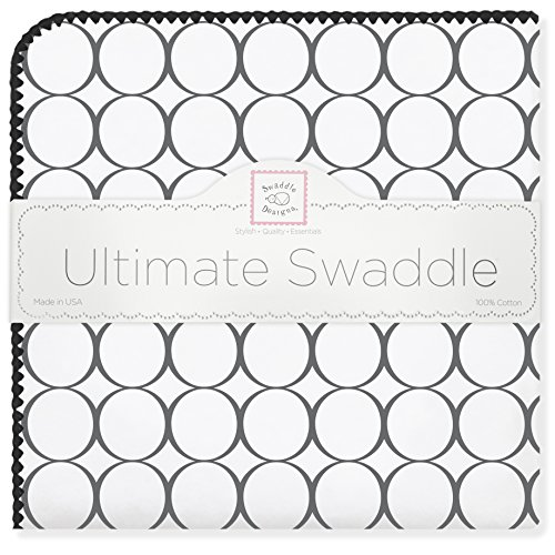 SwaddleDesigns Ultimate Swaddle, X-Large Receiving Blanket, Made in USA Premium Cotton Flannel, Mod Circles, Black (Mom's Choice Award Winner)
