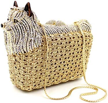 Poboom Le Donne di Sera in Rilievo Borse Design Creativo Animale con Diamanti Metallo Frizione Borse Catena della Spalla Dinner Party Bags,d'oro