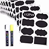 Chalkboard Labels 112 Pack, Pantry Stickers (3.5x2) for Jars: Mason, Spice, Glass and Canisters, Large Reusable Waterproof Blackboard Vinyl Set, Dishwasher Safe with Bonus 2 Erasable Chalk Markers
