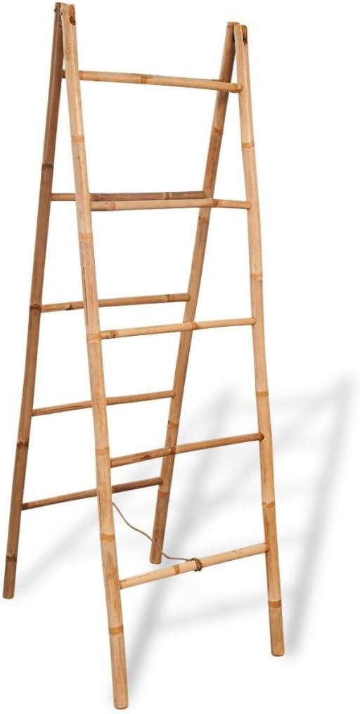 vidaXL - Toallero Doble de bambú, 5 peldaños, 50 x 160 cm, bambú, Color marrón, Talla única: Amazon.es: Hogar