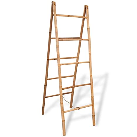 vidaXL Doble Toalla Escalera con 5 peldaños bambú 50 x 160 cm