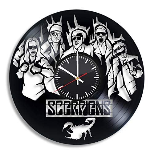 OlhaArtShop Scorpions Vinyl Wall Clock, Rock Band Vinyl Record Handmade Art Decor for Home Room Kitchen, Vintage Original Gift for Any Occasion, Party Supplies Decoration