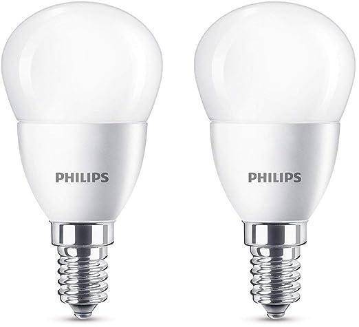 Philips bombilla LED esférica mate casquillo fino E14, 5.5 W equivalentes a 40 W en