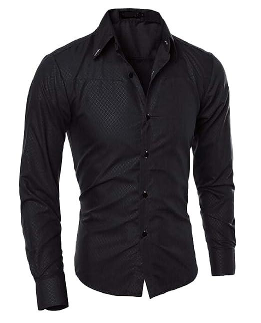 Joe Wenko Men Long Sleeve Classic Top Polos Pure Color Tee T-Shirts