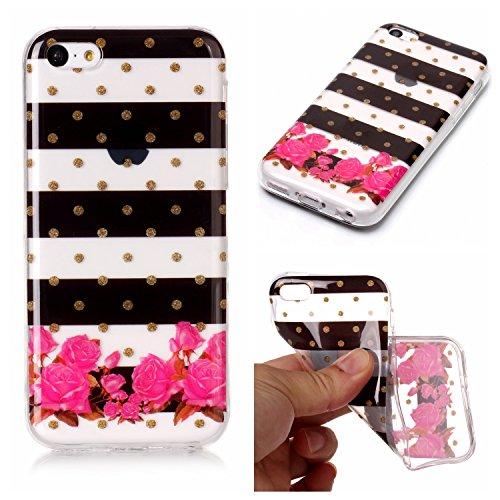Hülle iPhone 5C , LH Gestreifte Blumen TPU Weich Muschel Tasche Schutzhülle Silikon Handyhülle Schale Cover Case Gehäuse für Apple iPhone 5C