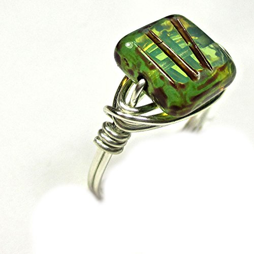 (Czech Glass Ocean Waves Picasso Artisan Silver Plate Wire Wrap Ring All Sizes)
