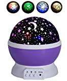 Cheap Rightwell Baby Night Light Stars Projector 360 Degree Rotation-Romantic Cosmos Star Sky Moon Projector [4 LED Bulbs 9 Light Color Changing With USB Cable] Best Gifts for Birthday,Kids,Bedroom (Purple)