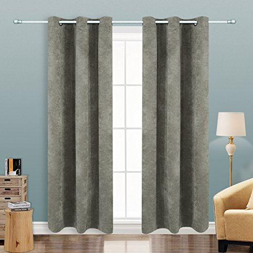 Solid Microfiber - Alice Brown Blackout Curtains Panels for Bedroom - Three Pass Microfiber Noise Reducing Thermal Insulated Solid Ring Top Blackout Window Drapes (42 x 84 inch -2 Panels, Gray)