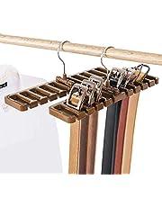 Xrten 10 Slot Tie Belt Saver Belt Hanger Holder, 360 Degrees Rotatable Belt Scarf Rack Organizer with Metal Hook