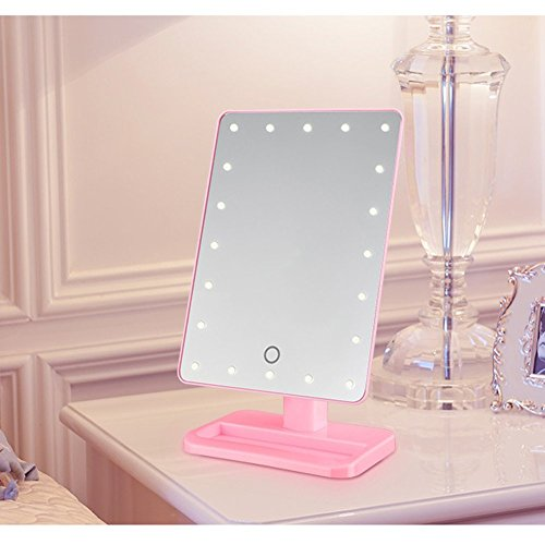 LEDHOLYT 20 LEDs Dimmable Multi-Function Mirror Make-up Light White Color (Black Shell) high-quality
