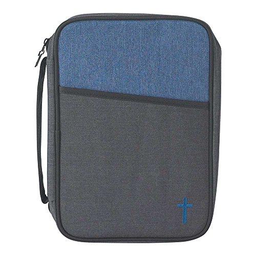 Gray and Blue Reinforced Polyester Bible Cover Case with Handle, -