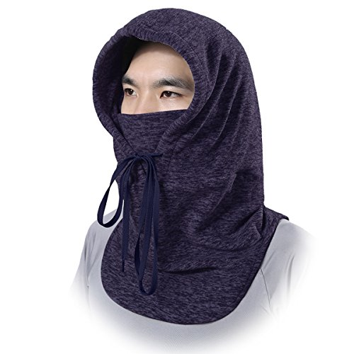 JIUSY Soft Fleece Neck Warmer Thermal Balaclava Hood Face Mask Windproof Dust Cover Protection for Ski Snowboard Snowmobile Outside Work Snowing Hunting Hiking Cold Weather Winter Men Women Dark Blue -