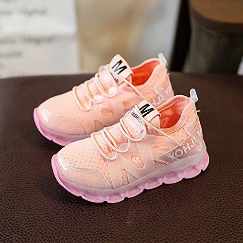 Kleinkind Jungen Mädchen LED Schuhe - Blinkende leuchten Sport Turnschuhe hibote Rosa