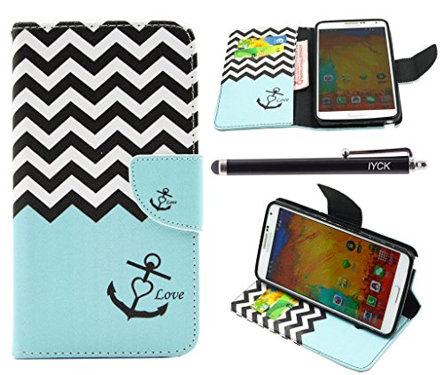 Note 3 Case, Galaxy Note 3 Case, iYCK Premium PU Leather Flip Folio Carrying Magnetic Closure Protective Shell Wallet Case Cover for Samsung Galaxy Note 3 with Kickstand Stand - Wavy Anchor