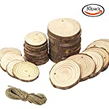 SERONLINE 30pcs 2.4-2.8inch and 3.2-4inch Predrilled Wood Slices and 33ft Natural Jute Twine