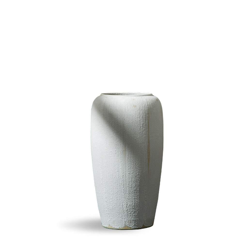床の花瓶大きな白いリビングルームドライフラワー花現代の家の石器中国のセラミック装飾品 HUXIUPING (Size : S) B07T1WG18F  Small