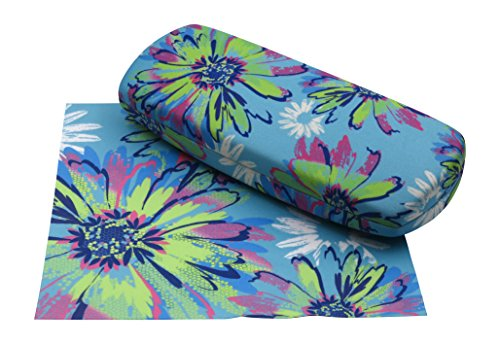 Rachel Rowberry Floral Eyeglass Case with eyeglass cleaning cloth   Medium hard eyeglass case in a unique Microfiber Smooth Finish(AS135 Pop - Eyeglasses Proper For Fit