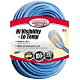Coleman Cable 02569 12/3 100-Foot Hi-Visibility/Low-Temperature Outdoor Extension Cord