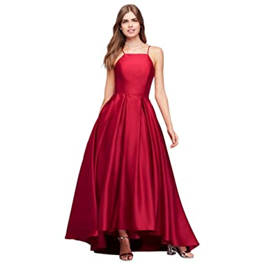 8d6519a16e5 David s Bridal High-Neck Satin Prom Dress Style A20188 at Amazon Women s Clothing  store
