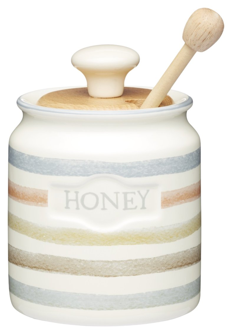 KitchenCraft Class Collection Striped Ceramic Honey Pot with Wooden Dipper, 450 ml (16 fl oz) KCCCHONEY