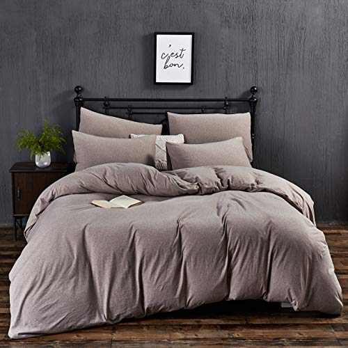 MoMA Jersey Knit Cotton Duvet Cover Set - 3 Pieces Bedding Set - Soft Breathable Coffee Comforter Cover - 1 Duvet Cover and 2 Pillowcases (Coffee, Queen)