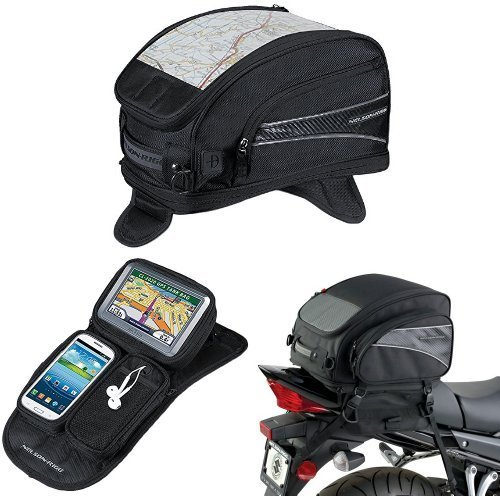 Nelson-Rigg CL-2015-MG Black Magnetic Mount Journey Sport Tank Bag,  CL-GPS-MG Black Magnetic Mount Journey GPS Mate,  and  (CL-1040-TP) Black Jumbo Expandable Tail Bag Bundle