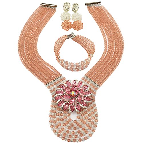 laanc Womens Wedding 6 Rows Champagne Gold AB and Multicolor Crystal Beads African Jewelry Sets (Peach Transparent)]()