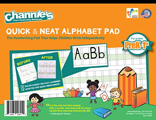 "Channie's Quick & Neat Alphabet Writing Pad, Practice Handwriting & Printing Workbook, 80 Pages Front & Back, 40 Sheets, Grades PreK – 1st, Size 8.5"" x 11"""