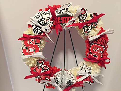 COLLEGE PRIDE - SPIRIT - NCSU - NORTH CAROLINA STATE UNIVERSITY - WOLF PACK - STUDENT DORM DECOR - DORM ROOM - COLLECTOR WREATH - RED DAHLIAS AND CREAM CARNATIONS