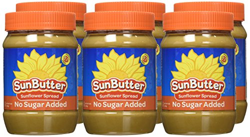 SunButter Natural No Sugar Added Sunflower Butter with hint of salt (Pack of 6) 2 Pack of 6 jars Natural, simple and delicious peanut butter alternative with 7 grams of protein per serving Free from top 8 food allergens: peanuts, tree nuts, milk, eggs, wheat, fish, shellfish and soy