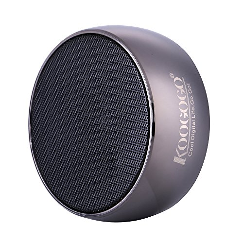 KOOGOGO Wireless Bluetooth Speaker, Metal Case Powerful Mini Outdoor Speaker with Microphone, Portable MP3 Player for Phones, PC and Tablets (Metal Grey)