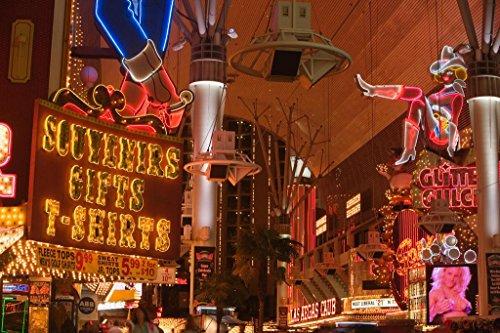 (Illuminated Neon Signs Las Vegas Nevada Casinos Hotels Photo Art Print Mural Giant Poster 54x36 inch)