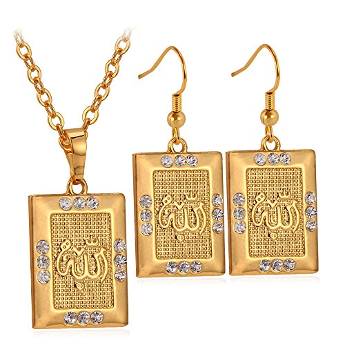 (Allah Jewelry Set Slide Chain 22 Inch 18K Gold Plated Square Pendant Necklace Earrings Set)