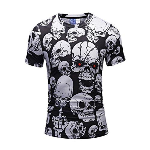Mose Bone Print for Men Fashion Men's Casual Scary Skulls 3D Printing Short Sleeve O-Neck T-Shirt Top Blouse (Black, ()