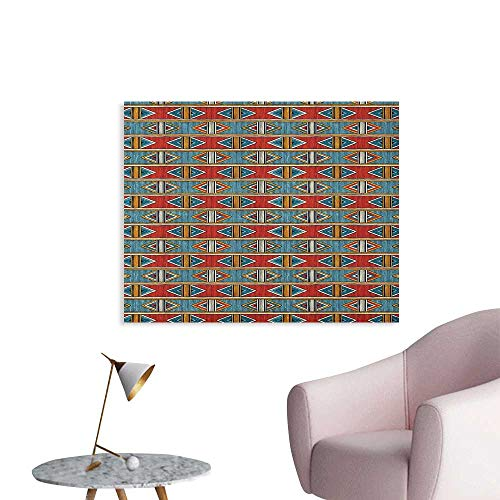 - Anzhutwelve Kente Pattern Wall Paper Tribal Traditional Triangles and Stripes Indigenous Native Cultural Heritage Art Poster Multicolor W36 xL24
