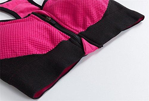 FYX 2piezas mujer conjunto Bra Deportivo con Capris pantalones Leggings pantimedias de secado rápido para jogging Running Yoga Fitness rojo