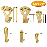 Picture Hanging Kit, Homga 130pcs Picture Frame Hangers Asst, Heavy Duty Picture Hanging Hooks with Nail for Wall Mounting, Holds 10-100 lbs, Golden with PP Box