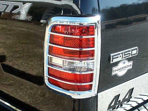 QAA FITS F-150 2004-2008 FORD (2 Pc: ABS Plastic Taillight Bezels w/Chrome Overlay, FLEETSIDE) TL44308