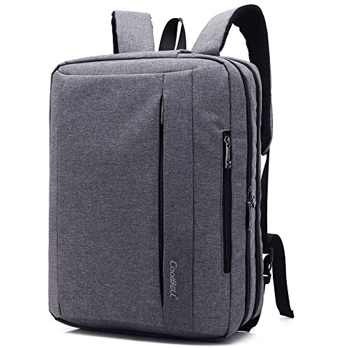 CoolBELL 15.6 Inches Convertible Laptop Messenger Bag Shoulder Bag Backpack Oxford Cloth Multi-Functional Briefcase for Laptop/MacBook/Tablet (New Grey)