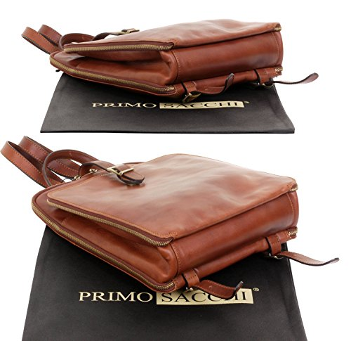 Leather Back Briefcase Vintage Classic Shoulder Older Pack For Luxury Hand Quality Bag Brown Adults Mid Childs School Sacchi Primo Young Italian University Made Style College an4wt66q
